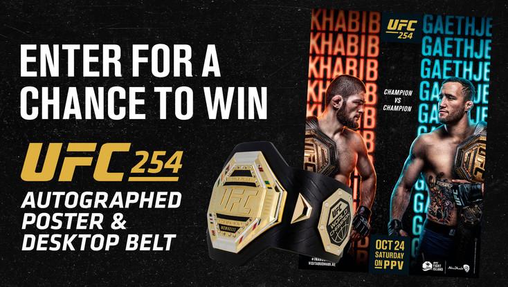UFC 254 Autographed Poster & Desktop Belt Giveaway